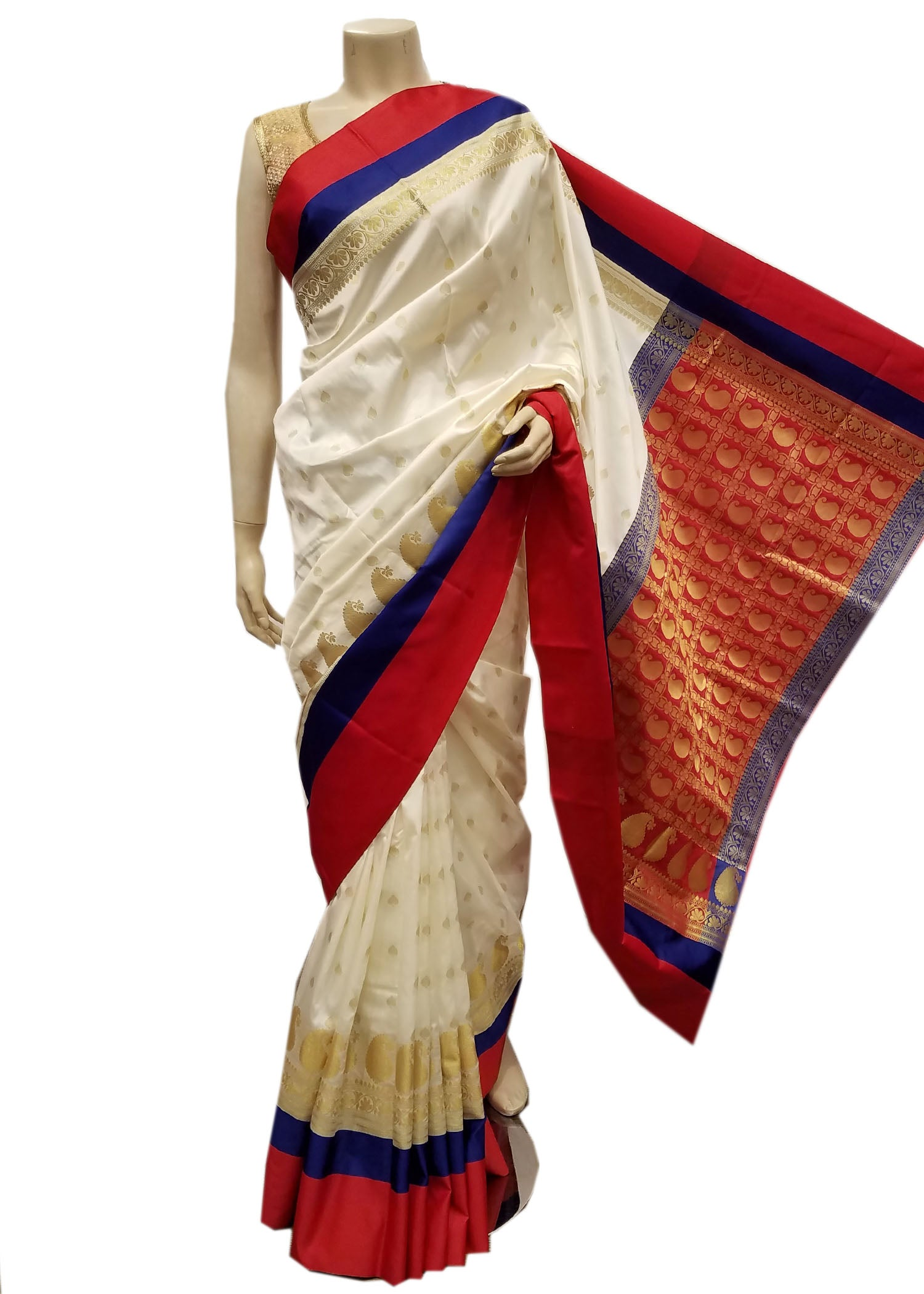 Cream Banarasi Silk Saree With Gold Zari Weaved Buttis With Red Banarasi Pattern Pallu And Red Silk Border