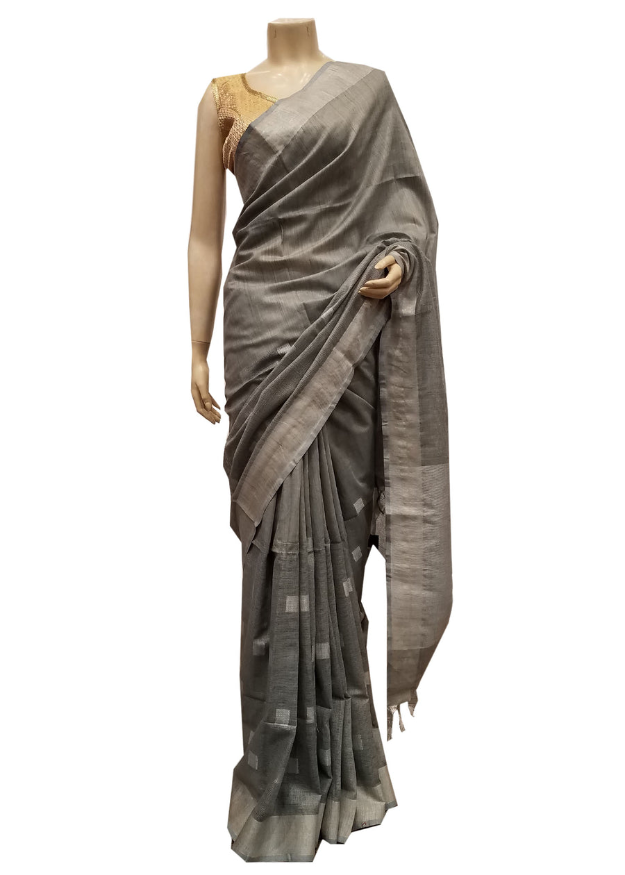 Grey Silk Saree With Silver Zari Weave