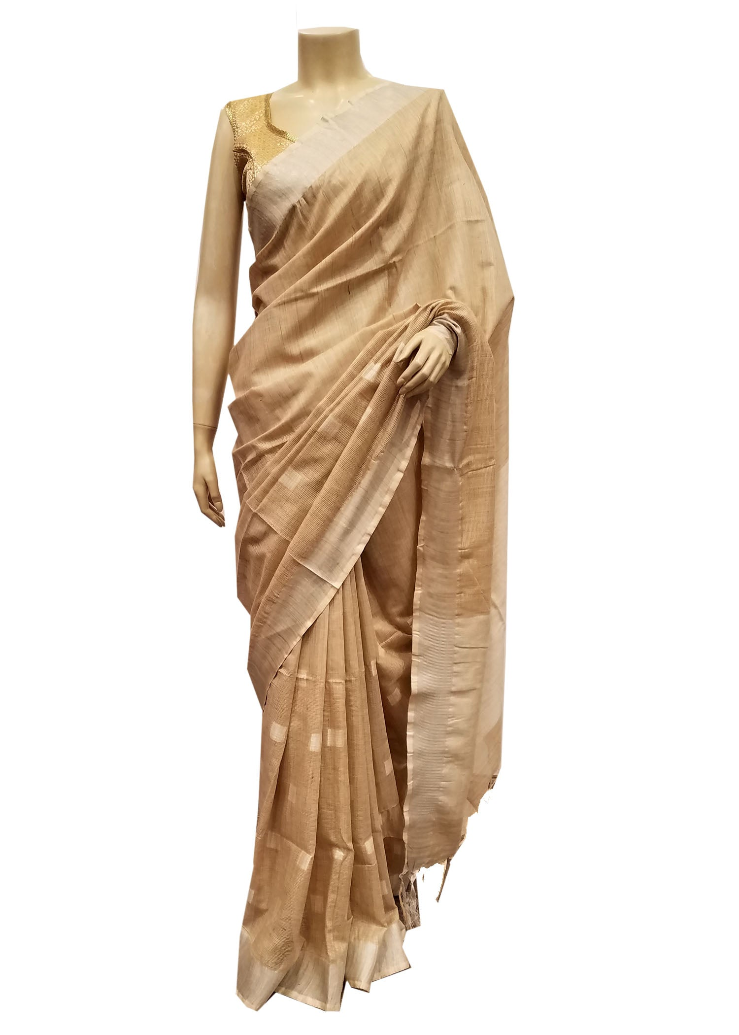 Gold Silk Saree With Silver Zari Weave