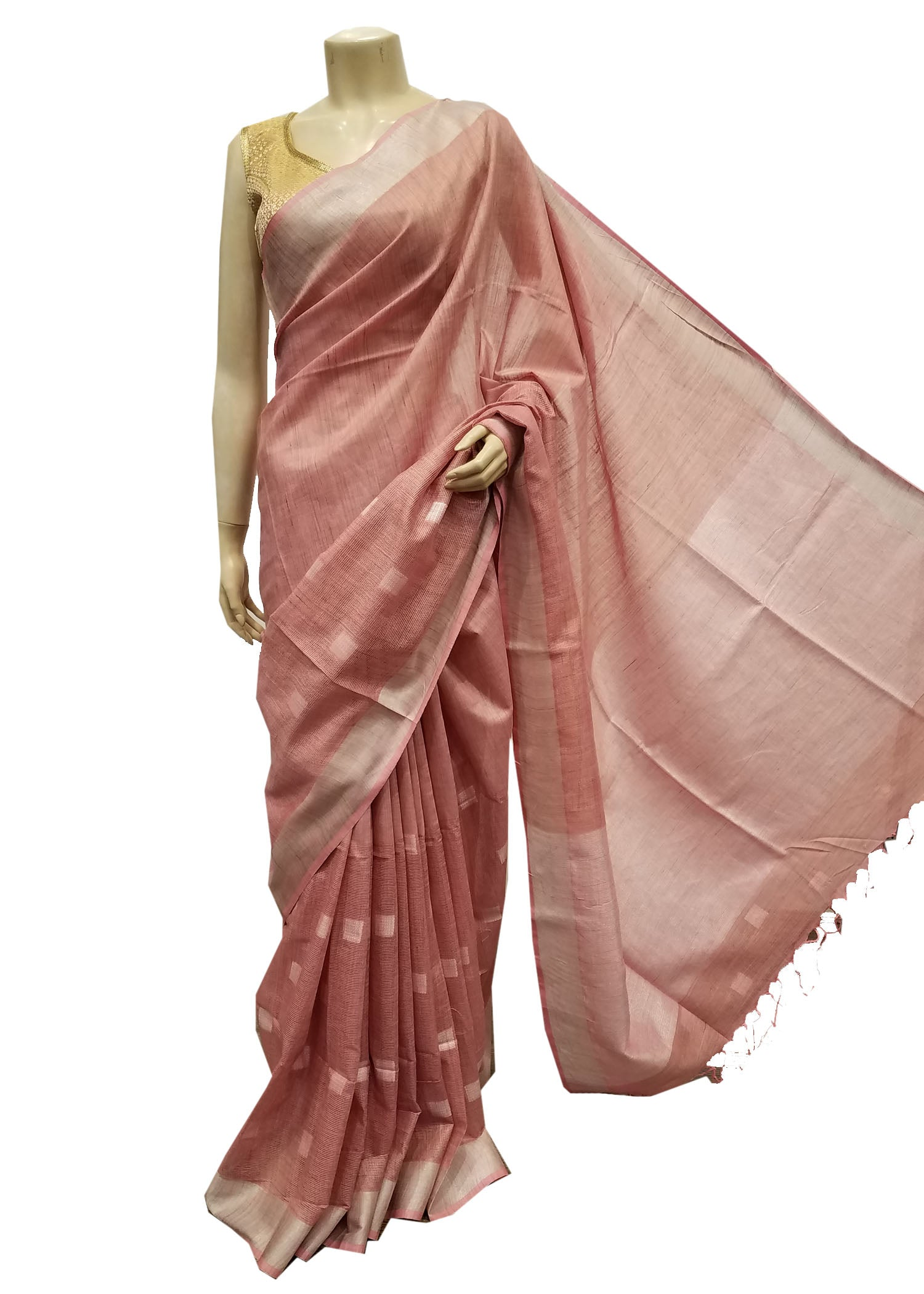 Pink Silk Saree With Silver Zari Weave