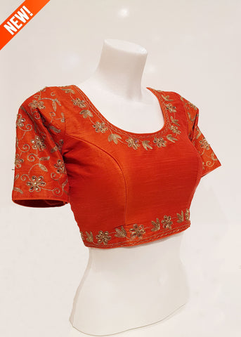 Raw silk blouse with sleeves- Orange