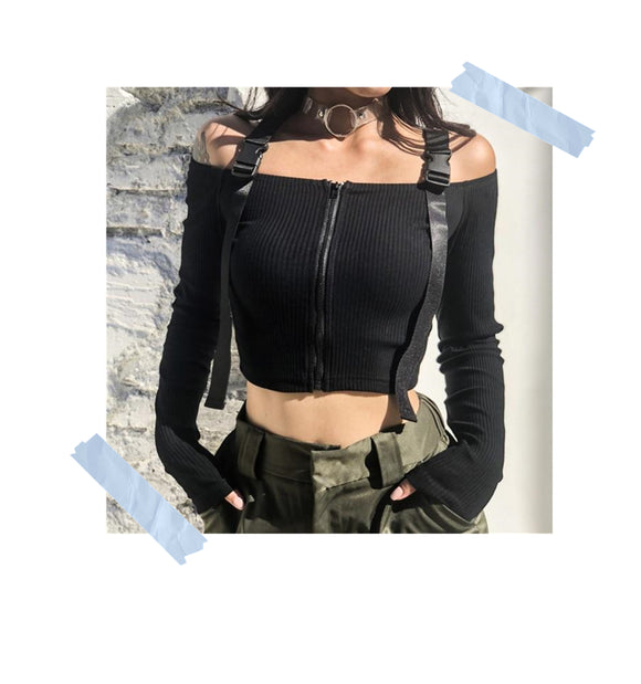 Crop top marga larga Army