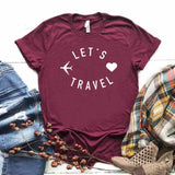 Camiseta let's travel en algodon