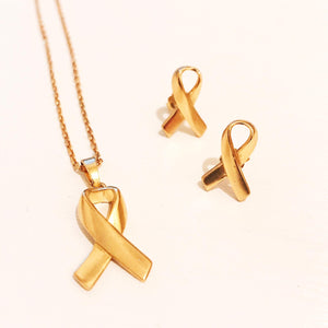 HK Awareness Ribbons S925 Golden Earrings/Necklace