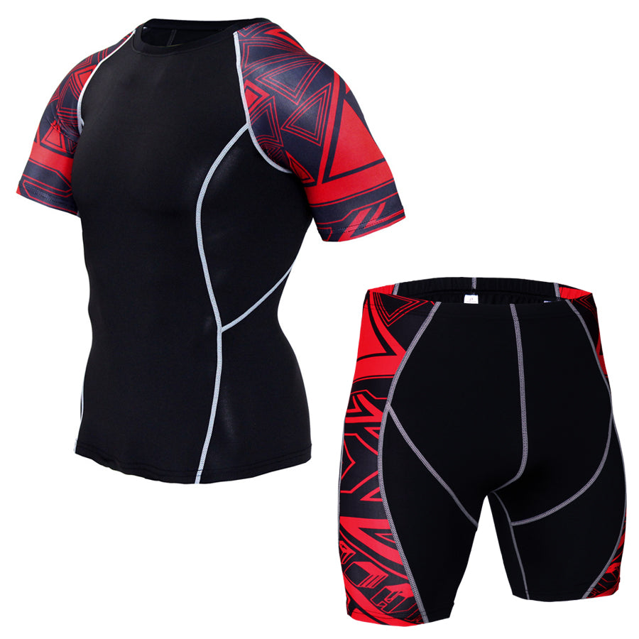 #5 Fitness Men's Sports Tights Quick-Drying Athletic T-shirt Shorts Set Basketball Tights Coach Training Wear Men Sweat Suit(2pcs/Sets)