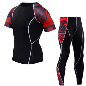 #5 Men Quick Dry Sport Running Sets Short-sleeved T-shirt+Tight Trousers Joggers Training Gym Fitness( 2pcs/Sets)