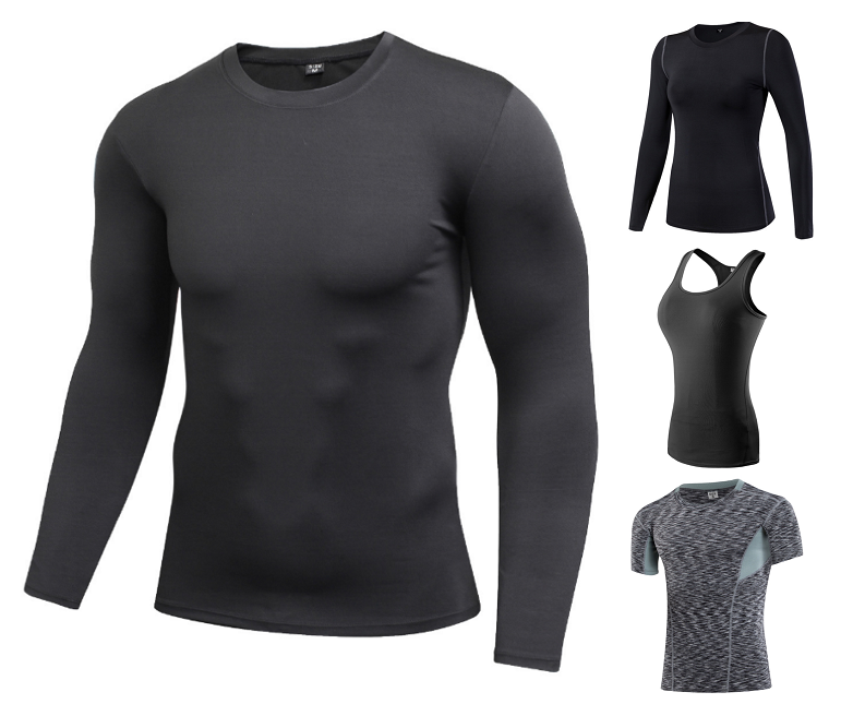 Men&Women Quick Dry Workout Running Shirt Compression Fitness Tops Breathable Gym Sport Shirts