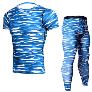 #6 Men Quick Dry Sport Running Sets Camouflage Short-sleeved T-shirt+Tight Trousers Joggers Training Gym Fitness(2pcs/Sets)