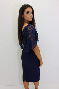 Navy Lace Cape Dress