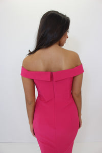 Fuschia Pink Bardot Midi Dress