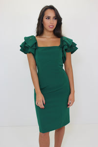 Green Frill Sleeve Dress