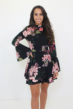 Load image into Gallery viewer, Floral Flare Sleeve Frill Hem Dress