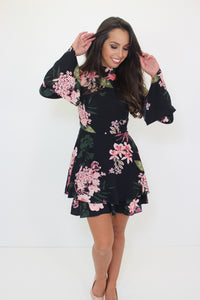 Floral Flare Sleeve Frill Hem Dress