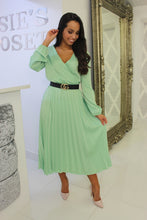 Load image into Gallery viewer, Mint Pleated Midi Dress
