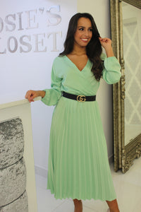 Mint Pleated Midi Dress