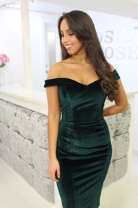 Velvet Bardot Dress Green