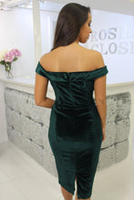Load image into Gallery viewer, Velvet Bardot Dress Green