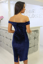 Load image into Gallery viewer, Velvet Bardot Dress Navy