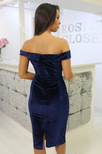 Velvet Bardot Dress Navy