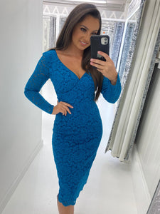 Teal Long Sleeve Lace Pencil Dress