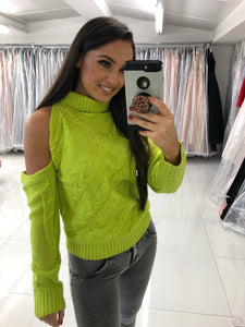 Lime Green Cold Shoulder Jumper
