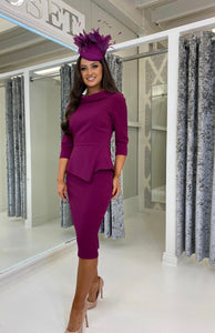 Plum Peplum Pencil Midi Dress