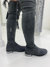 Load image into Gallery viewer, Grey Faux Suede Over The Knee Boots