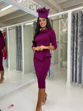 Load image into Gallery viewer, Plum Peplum Pencil Midi Dress