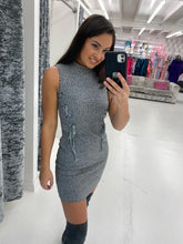 Load image into Gallery viewer, Grey Sleeveless Ribbed Mini Dress