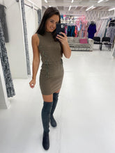 Load image into Gallery viewer, Brown Sleeveless Ribbed Mini Dress