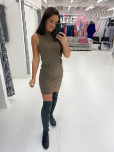 Brown Sleeveless Ribbed Mini Dress