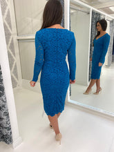 Load image into Gallery viewer, Teal Long Sleeve Lace Pencil Dress
