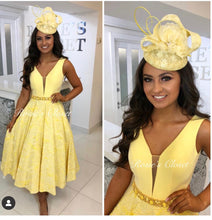 Load image into Gallery viewer, Yellow Midi Skater Dress