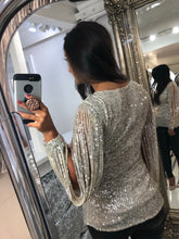 Load image into Gallery viewer, Silver Sequin Tassel Long Sleeve Top