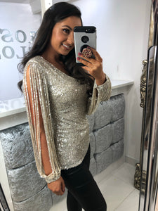 Silver Sequin Tassel Long Sleeve Top