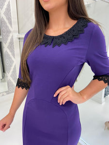 Purple Pencil Dress with Lace Detail