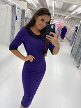 Load image into Gallery viewer, Purple Pencil Dress with Lace Detail