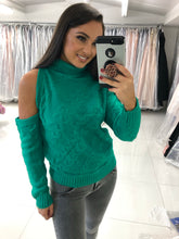 Load image into Gallery viewer, Green Cold Shoulder Jumper
