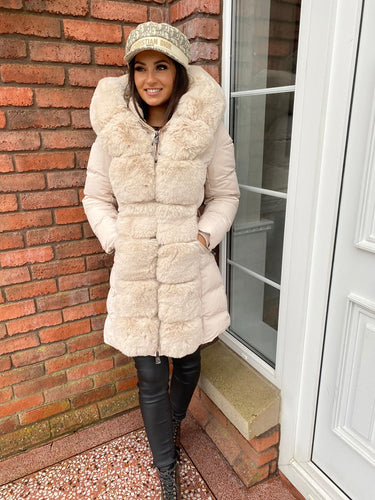 Cream Faux Fur Long Puffer Coat