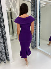 Load image into Gallery viewer, Purple Midi Length Fishtail Dress