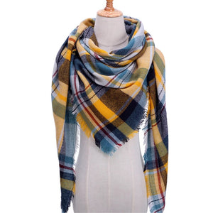 Navy Plaid Picnic Checked Scarf