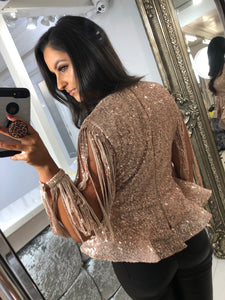 Rose Gold Sequin Tassel Long Sleeve Peplum Top
