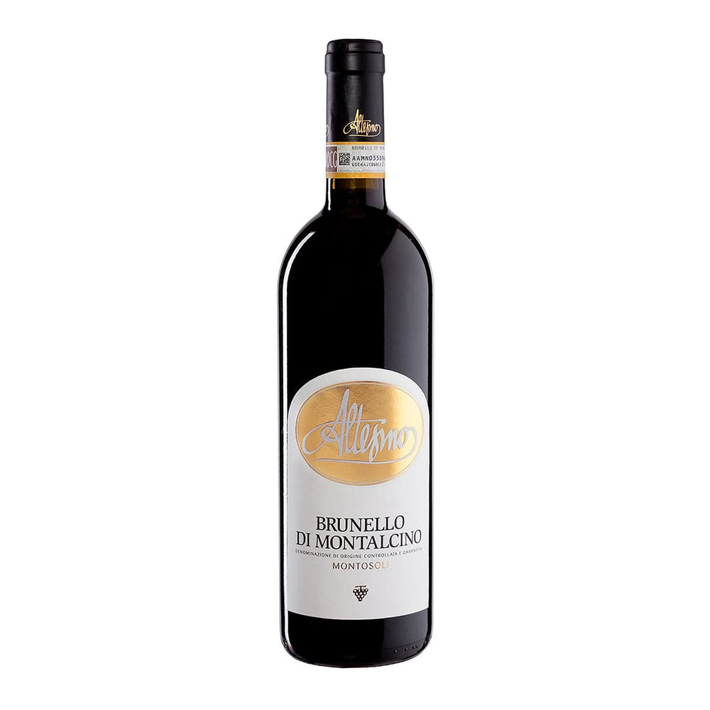 Altesino Brunello Montalcino Montosoli red wine bottle with gold logo label