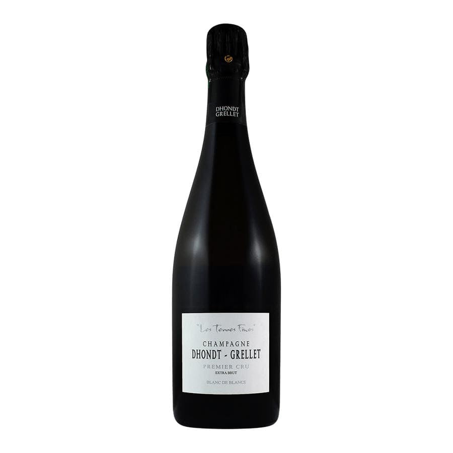 "Champagne Dhondt Grellet ""Terres Fines"" Blanc de Blancs champagne bottle with black foil top and white label"