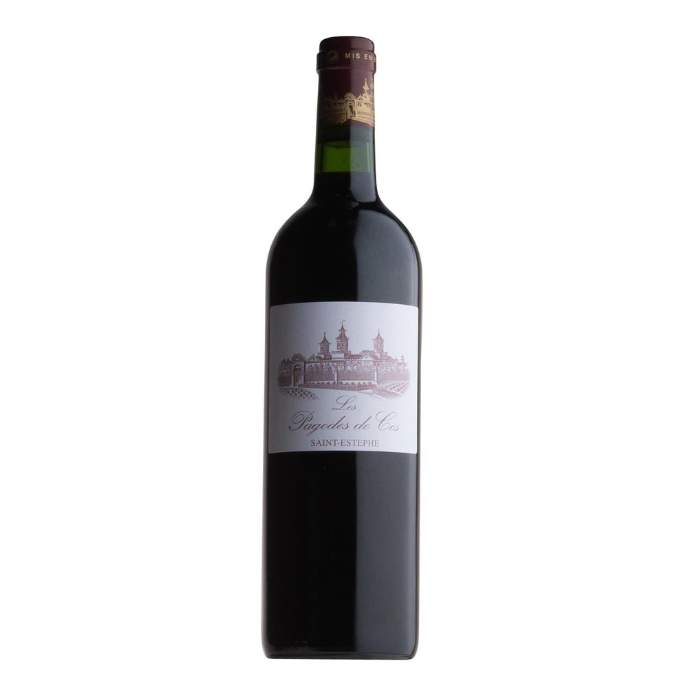 Chateau Cos d'Estournel. Pagodes de Cos red wine bottle with label