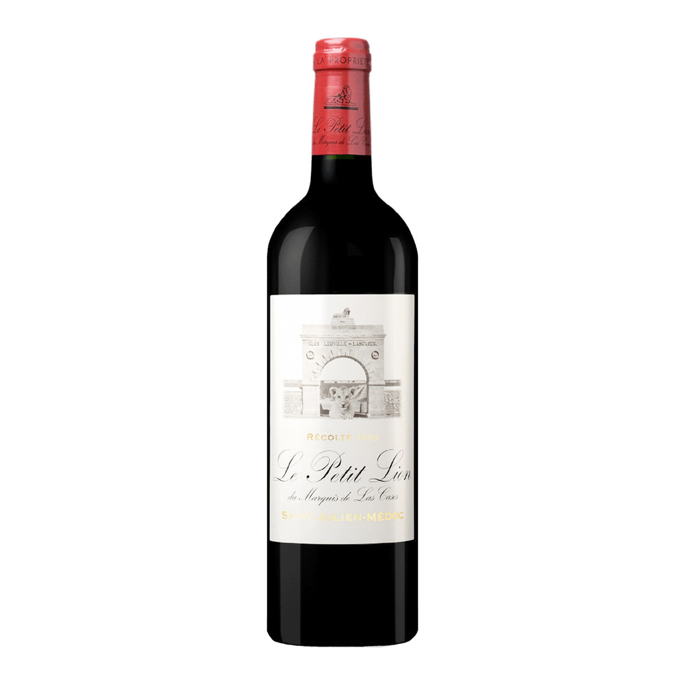Chateau Leoville-Las Cases Le Petit Lion du Marquis de Las Cases bottle with red top and label