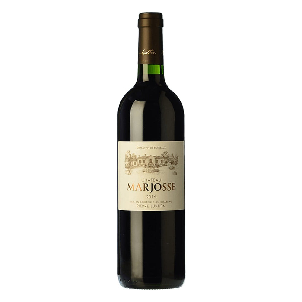 Chateau Marjosse Bordeaux red wine bottle with red top