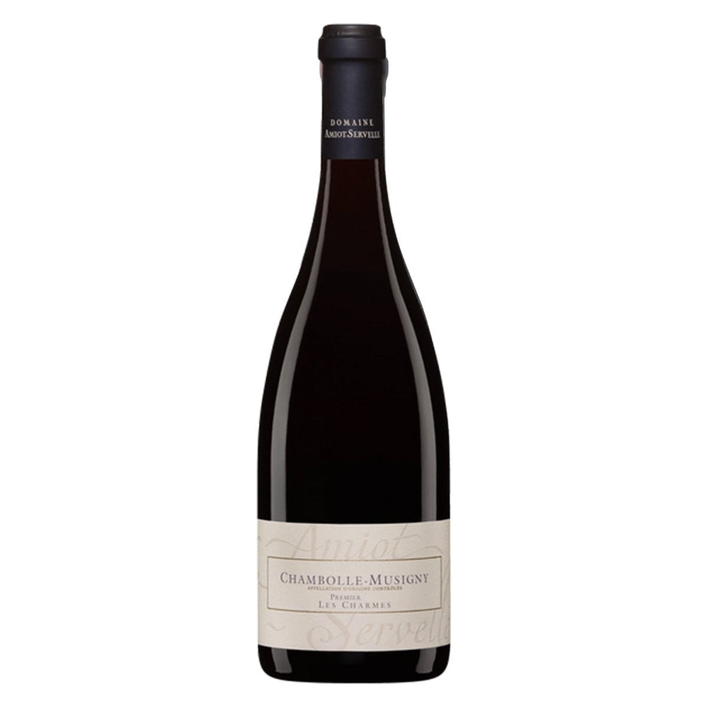 Domaine Amiot-Servelle Chambolle-Musigny Premier Cru Les Charmes red wine bottle with classic golden label