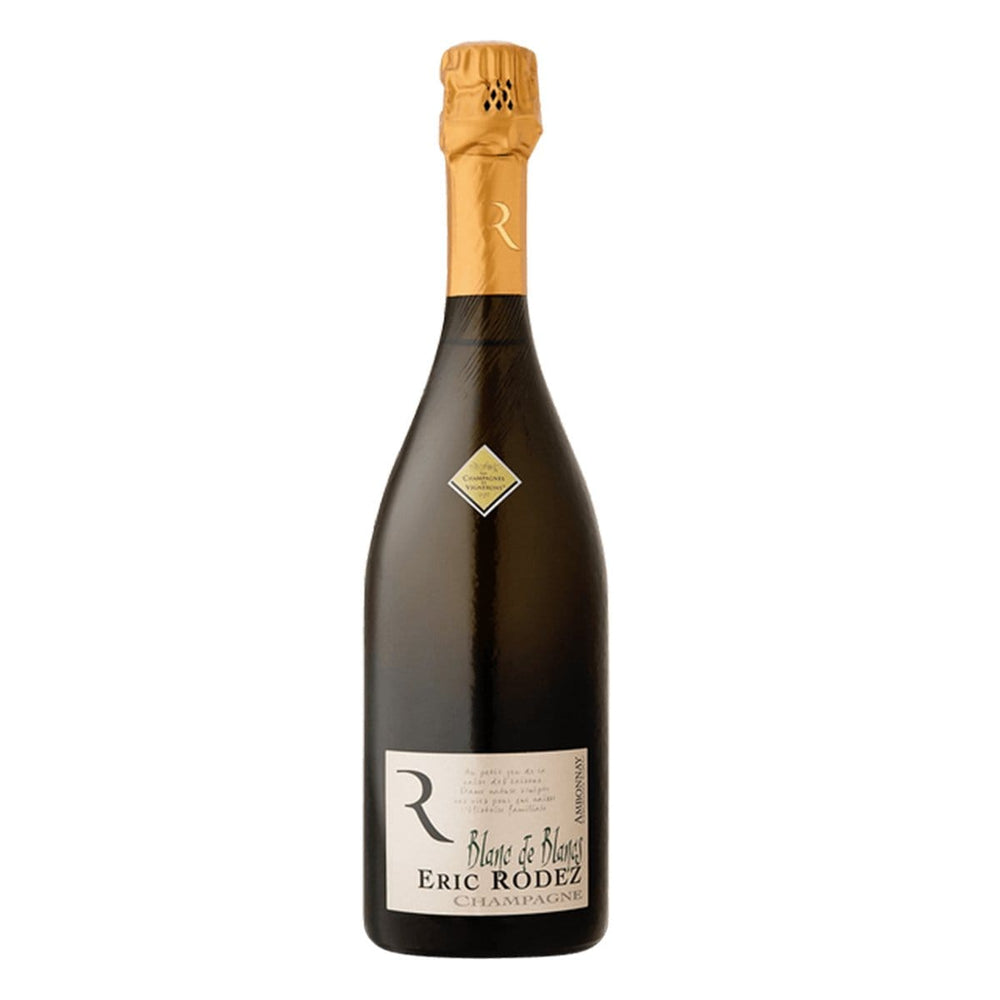 Champagne Eric Rodez Blanc de Blancs, Grand Cru Ambonnay champagne bottle with gold foil top