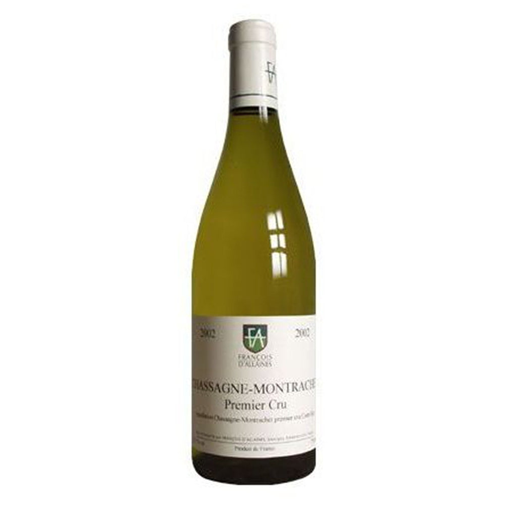 Francois d'Allaines Saint Aubin 1er Cru Les Frionnes White wine bottle with white and green label and foil top